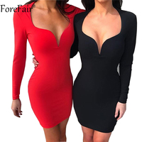ForeFair Sexy Low Cut Mini Bodycon Club Party Dress Black White Red Blue Women Long Sleeve