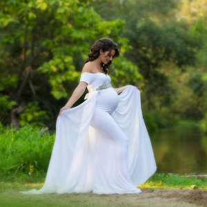 Image 2 - Maternity Photography Props Dress with Cape Stretchy Baby Shower Long Dress Pregnancy Dress Maternity Dress For Photo Shoot