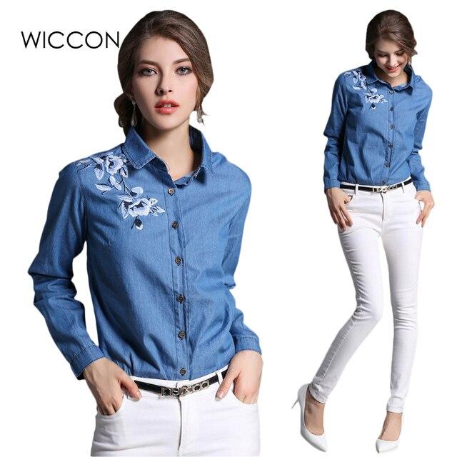 Джинсовая блузка женская вышитая Джинсовая блузка цветок винтажная джинсовая рубашка женская джинсовая рубашка Топы Одежда femme джинсовые блузки