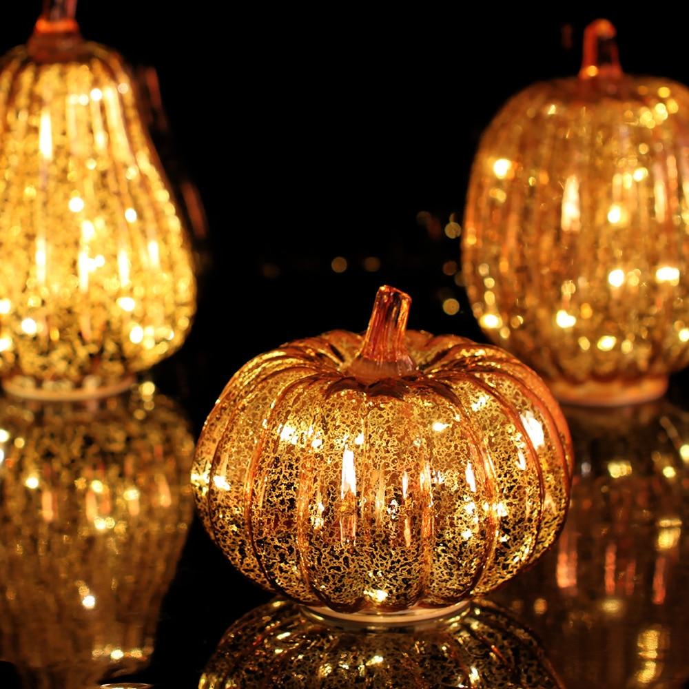 Pumpkin Fall Wallpaper Glass Pumpkins Led Light With Timer For Autumn Decor