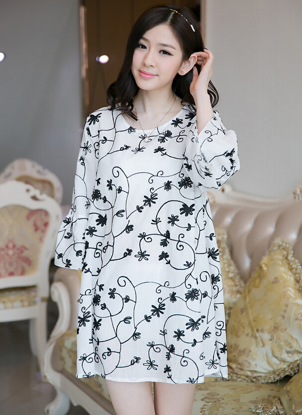 2014 New Arrival Casual Embroide Dress For Women/Girls High Quality Fashion Loose Soft Pregnant Woman Dress wf-5061