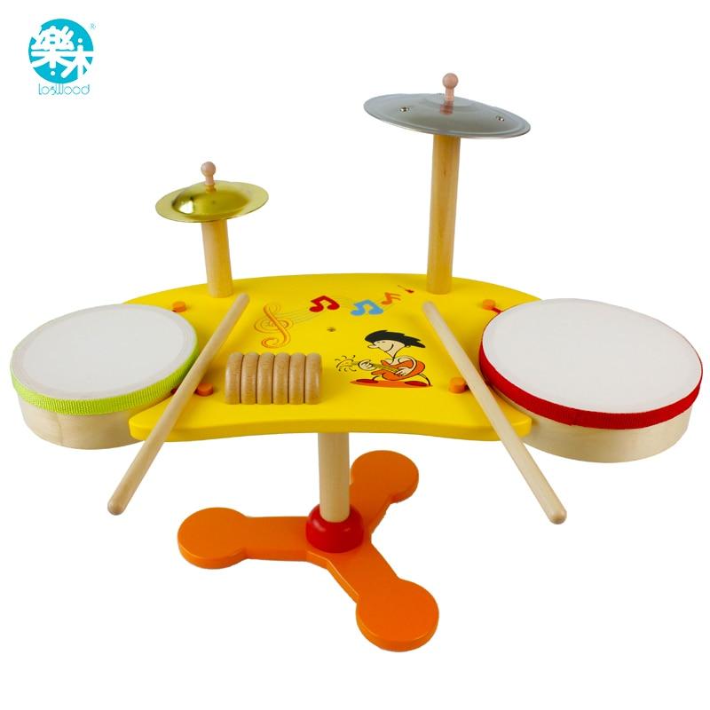 Bébé jouets en bois batterie kit instruments de musique batterie ensemble bébé jouets musique percussion instruments handbell hochet kid brinquedos