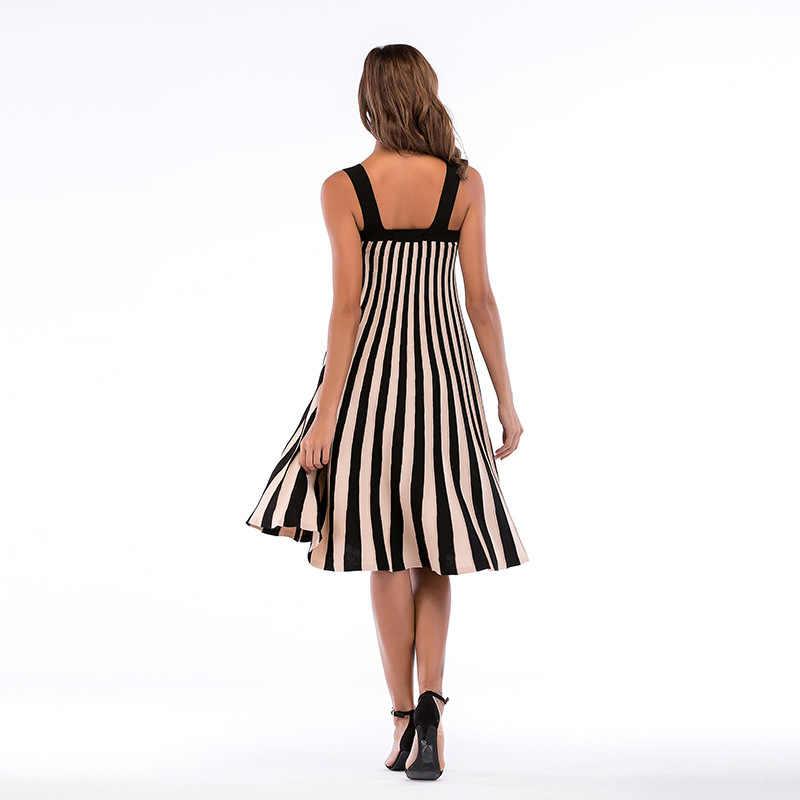 Yovamoo verão vintage plus size vertical listrado frente botão de malha vestido espaguete cinta midi vestidos roupas femininas 2018