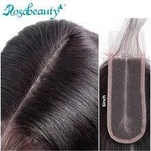 Rosabeauty бразильские прямые волосы с глубоким вырезом, 2x6 кружева, 100% человеческие волосы, Выбеленные узлы с детскими волосами