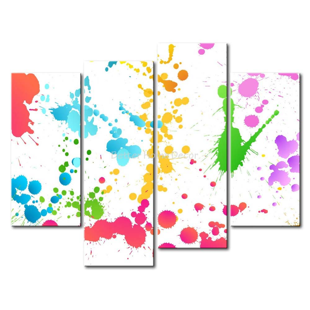 Big Canvas Art Modern Watercolor Abstract Ink Splash Big: 3 Piece Wall Art Painting Color Splash Print On Canvas The