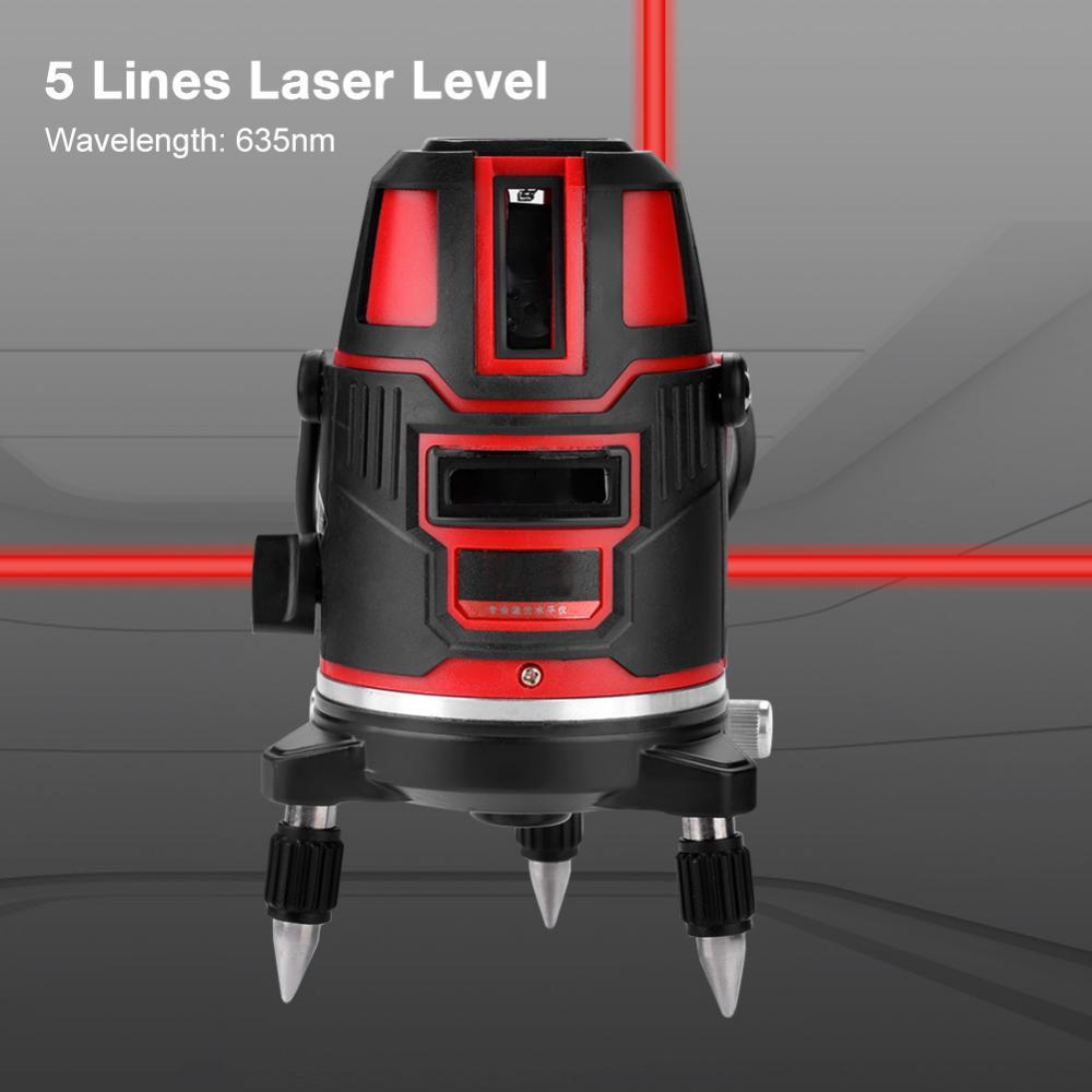 5 Line Laser Level Automatic Self Leveling S110V Red Horizontal Vertical Cross Line Laser Level nivel