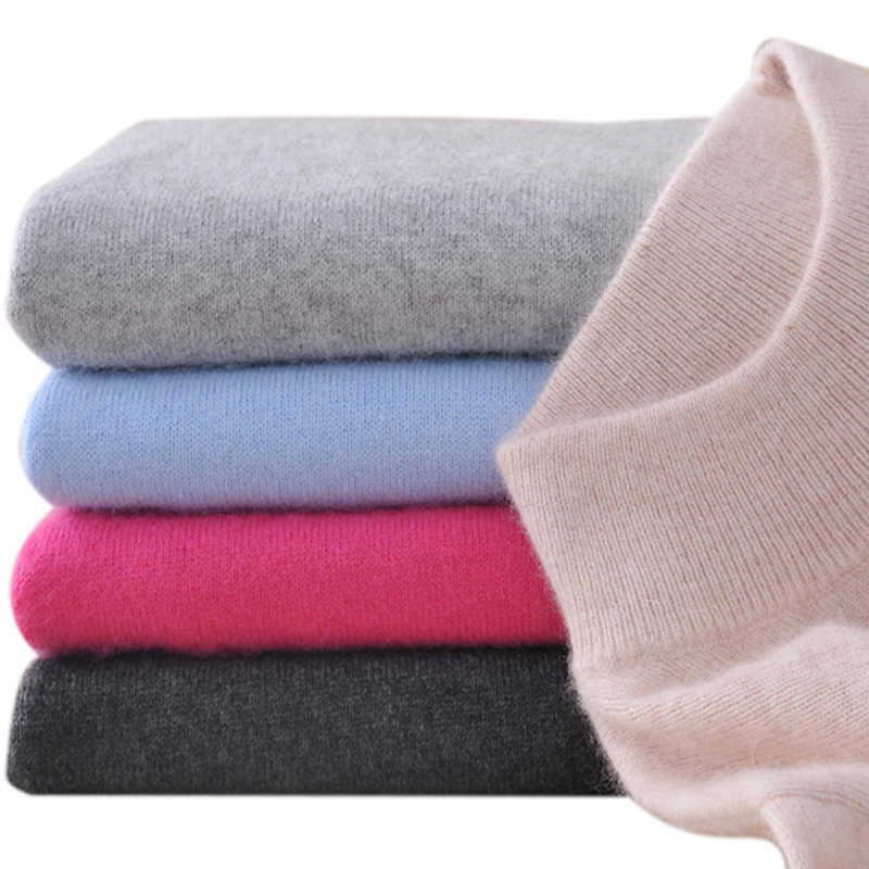 2019 Fashion Cashmere Blended Knitted Sweater Women Tops Autumn Winter Turtleneck Pullovers Female Long Sleeve Solid Color