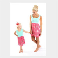 WYT23 Summer Mother Daughter Matching Clothes Matching Clothes Family Family Matching Outfits Mother Daughter Casual Dress