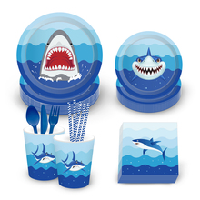 Omilut Baby Shark Disposable Tablecloth/Plates/Cups/Napkins Cute Shower Boy Decor 1th Birthday Ocean party Supplies