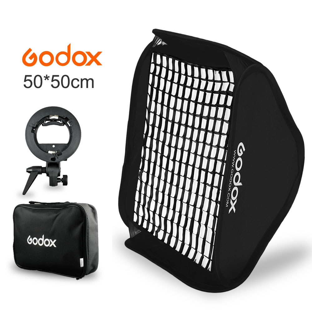 Godox Softbox 50x50cm 20 * 20 Flash Diffuser Kit + Honeycomb Grid + S-type Bracket Bowens Holder for Speedlite Flash Light godox softbox 50x50cm flash diffuser photo studio photography kit with s type bracket comet mount holder 2m light stand