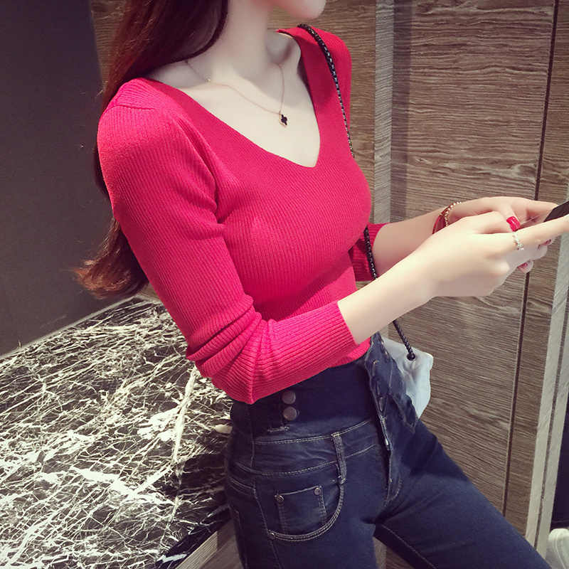 fashion 2016 spring summer autumn v-neck long-sleeve top sexy stretch thin sweater black white red purple yellow female B0321