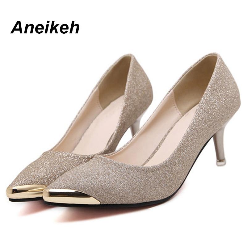 B518 Haute Métal Pointu Noir silver Zapatos Stiletto Talons Mujer Pompes Femmes Travail gold Or Chaussures Paillettes 2018 Sexy Tête En 15 Black Argent pYUFnwq5
