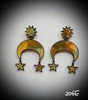 206E Gold Mirror Acrylic MOON STAR Romantic Women Earrings