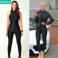 ZentaiHero 2017 Sexy Black Celebrity Woman High Neck Sleeveless Disco Dance Unitard Leotard Playsuit Catsuit Jumpsuit 17040502