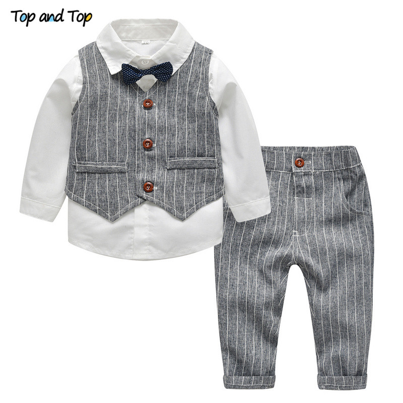Top And Top Winter Children Clothing Gentleman Kids Boys Clothes Set Shirt+Vest+Pants And Tie Party Baby Boys Clothes 3Pcs/set