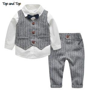 Image 1 - עליון ועליון חורף ילדי בגדי אדון בני ביגוד סט חולצה + אפוד + מכנסיים ולקשור מסיבת תינוק בני בגדי 3 יח\סט