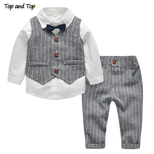 עליון ועליון חורף ילדי בגדי אדון בני ביגוד סט חולצה + אפוד + מכנסיים ולקשור מסיבת תינוק בני בגדי 3 יח\סט