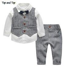 トップとトップ冬の子供服紳士キッズボーイズ服セットシャツ + ベスト + パンツとネクタイパーティー赤ちゃん男の子服 3 ピース/セット