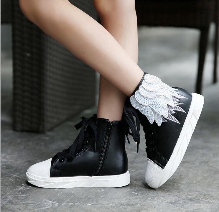 ФОТО autumn/winter kids children sneakers genuine leather causal shoes flats luxury rhinestonewings high fashion girls princess shoes