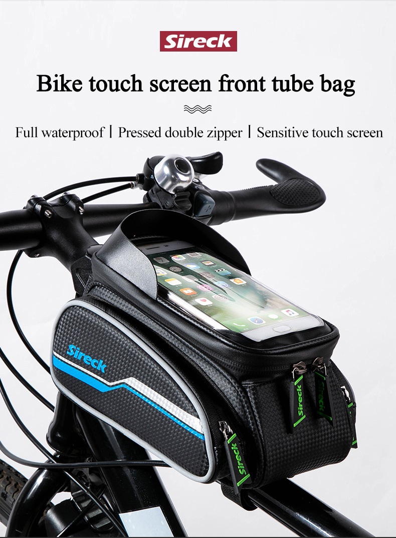 Bike Bicycle Front Tube Frame Bag Double Pannier Pack Phone Holder Reflective SP
