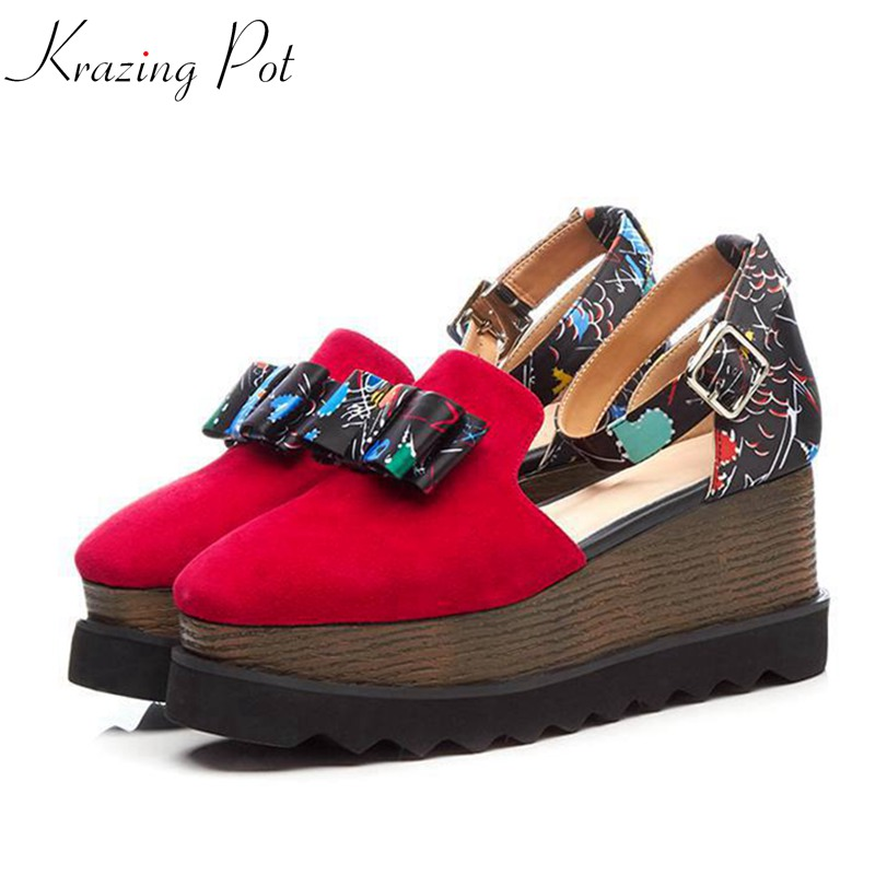 Krazing Pot 2018 sheep suede preppy style round toe women pumps wedges superstar buckle straps bowtie casual increased shoes L11 krazing pot sheep suede rabbit fur superstar preppy style bowtie casual shoes pointed toe flats sweet women outside slippers l71