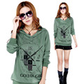 Plus Size M-4XL T-shirt Women Loose Tees Long-Sleeved Women's Clothing Printing T-Shirts Hooded Tops Femininos Casual Tees C1638