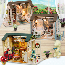 Doll Houses Casa Toys Miniature DIY Dollhouse With Furnitures American Retro Style 3D Wooden House Toys