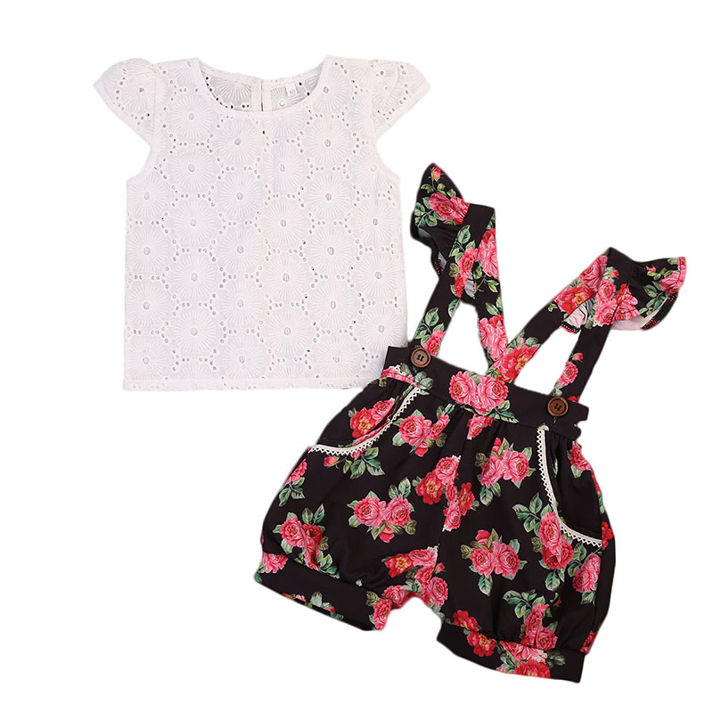 цены 2017 Summer Toddler Kids Clothing Set Princess Girls Lace T-shirt Tops+Floral Shorts Overall Jumpsuit 2PCS Children Clothes 1-6Y