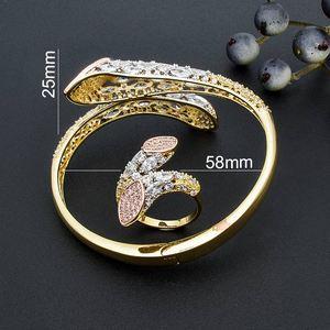 Image 5 - Modemangel Luxe Merk Super Aaa Zirconia Koperen Bangle Ring Set Jurk Engagement Party Wedding Bridal Jewelry Voor Vrouwen