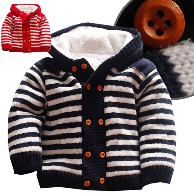 Baby Warm Thick Winter Knitted Sweater jacket Newborn Boys Girls Jumpsuit Climbing Clothes Christmas Hooded Outwear
