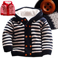 Bebê Quente jaqueta Grossa Camisola de Malha De Inverno Recém-nascidos Meninos Meninas Macacão Escalada Roupas de Natal Com Capuz Outwear