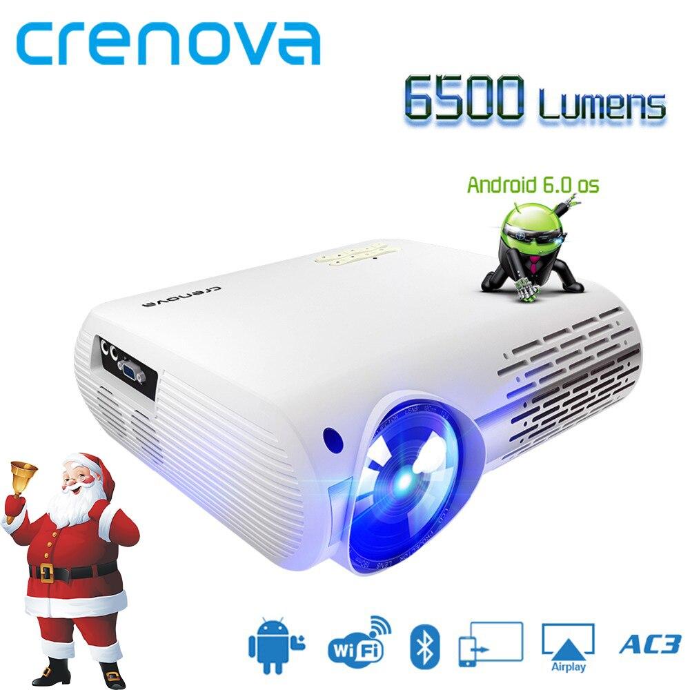 CRENOVA 2018 Date Vidéo Projecteur Pour Full HD 4 k * 2 k Home Cinéma Projecteurs Avec 5g WIFI android 6.0 OS 6500 Lumens Proyector