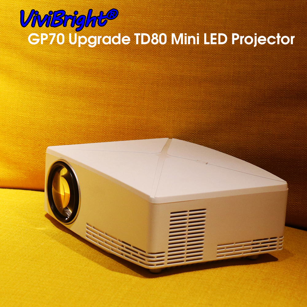 ViviBright TD80 Latest Portable Mini LED Projector 1280x720 HD HDMI Video C80 3D LCD TD80 UP