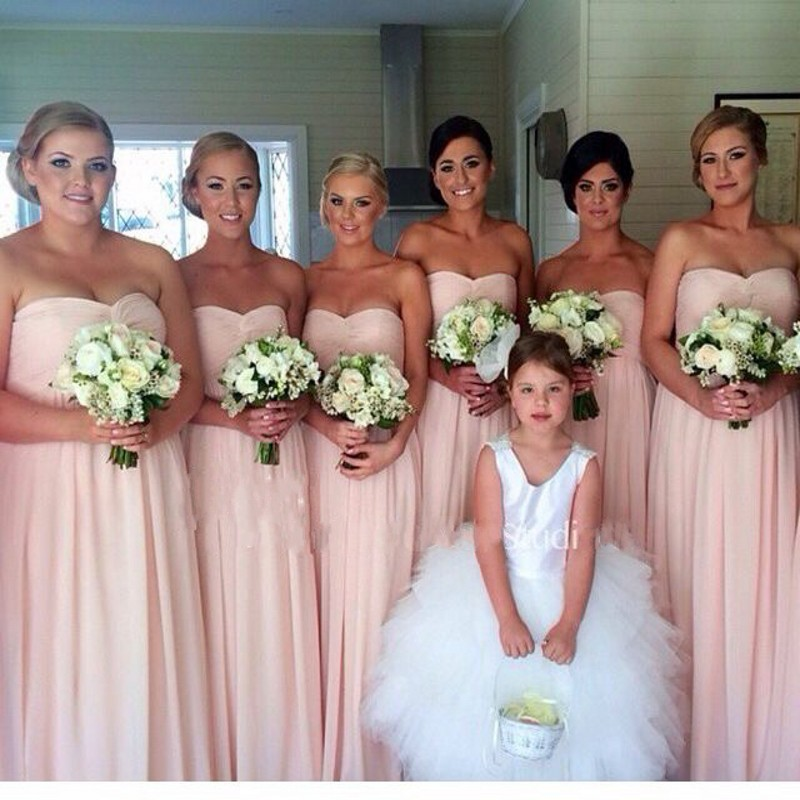 Baby Pink Chiffon Bridesmaid Gowns Navy Blue Peach Ivory Champagne Silver Yellow Hunter Dresses Fast Shipping In From