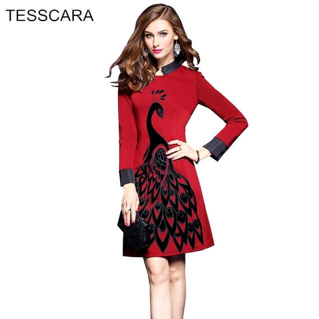 Mujeres oficina otoño invierno dress mujer elegante bordado retro ...