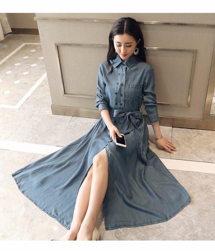 2018 printemps vêtements nouveau modèle Denim robe Station à la fois boucle longue fonds Cowboy robes à manches longues auto-culture - 6