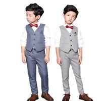 Комплект одежды для мальчиков с цветочным рисунком, детское школьное торжественное платье для свадьбы, жилет и штаны, комплект из 2 предмето...