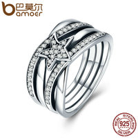 BAMOER Spring Collection 925 Sterling Silver Star Twisted Statement Ring For Women Engagement S925 Silver Jewelry