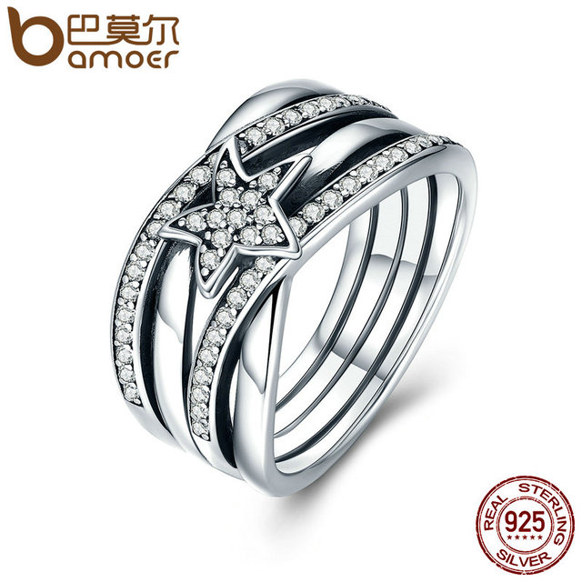 BAMOER Spring Collection 925 Sterling Silver Star Twisted Statement Ring For Wom