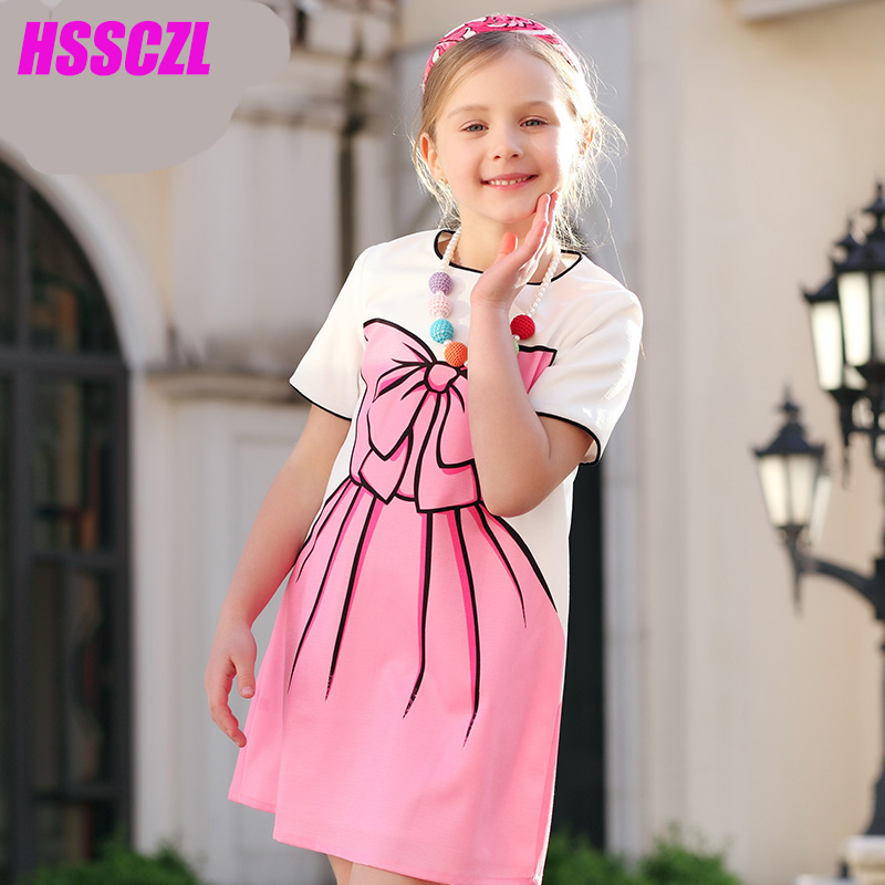 HSSCZL Girls Dresses Summer 2017 Brand Kids Girl Princess Dress print bow-knot flowers children clothes White 4-14A