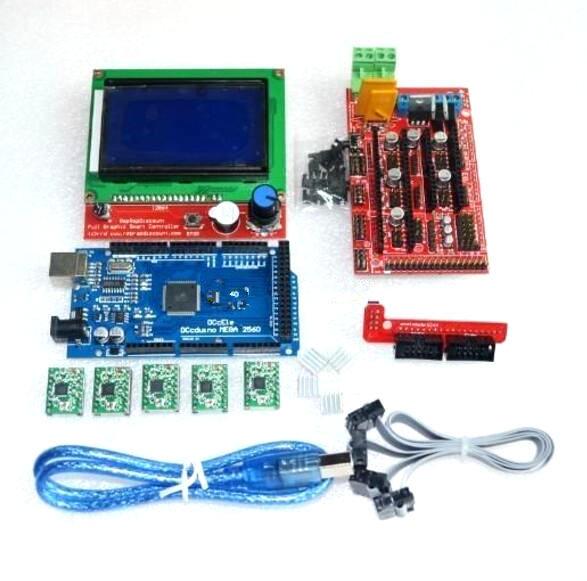 1pcs Mega 2560 R3 + 1pcs RAMPS 1.4 Controller + 5pcs A4988 Stepper Driver Module +1pcs 12864 controller for 3D Printer kit, цена и фото