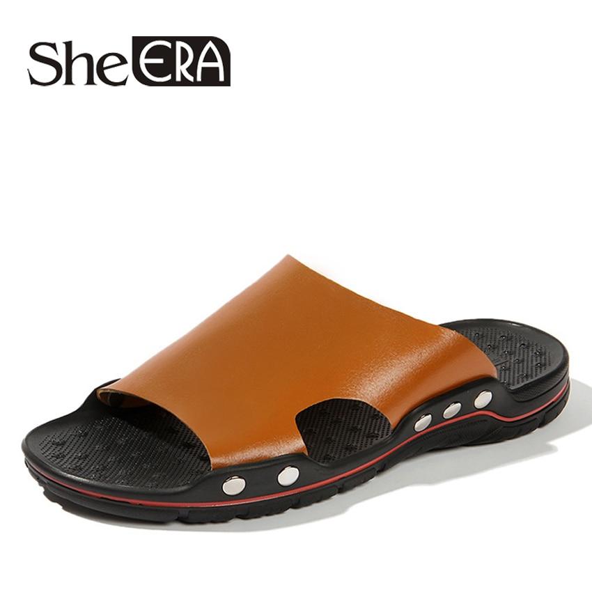 2018 Summer Men Sandals Leather Men Beach Sandals Brand Men Casual Shoes Slip On Flip Flops Zapatilla Hombre Plus Big Size 38-47