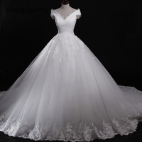vinca sunny vestido de novia fotos reales Ball Gown White Wedding Dresses Floor Length robe de mariage vestido de noiva 2018