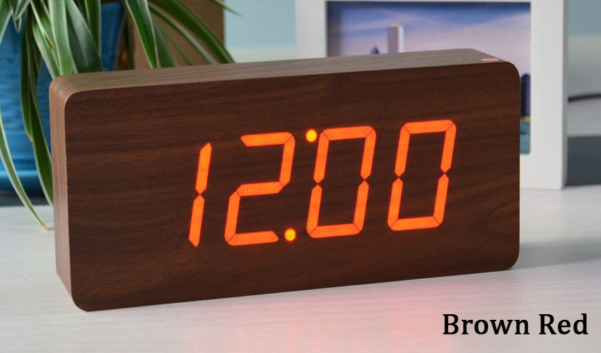 Best Modern Wood Clock Led Display Bamboo Digital Alarm Orologio Digitale Show Temperature Time With Voice Control In Clocks From Home