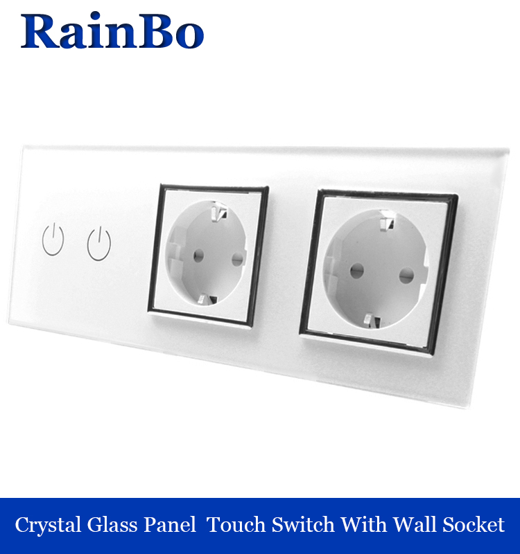 rainbo Crystal Glass Panel Electronic wall Socket EU Touch Switch control Screen Wall Light Switch 2gang1way white A39218E8EW 2017 free shipping smart wall switch crystal glass panel switch us 2 gang remote control touch switch wall light switch for led