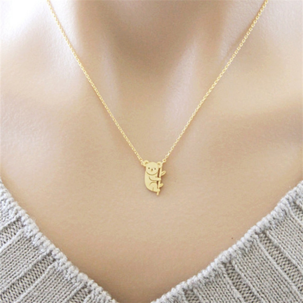 Fashion Silver/Gold <font><b>Koala</b></font> <font><b>Bear</b></font> Alloy Delicate Chain Pendant Pendant Necklace Simple for Women Gift Animal <font><b>Jewelry</b></font> image