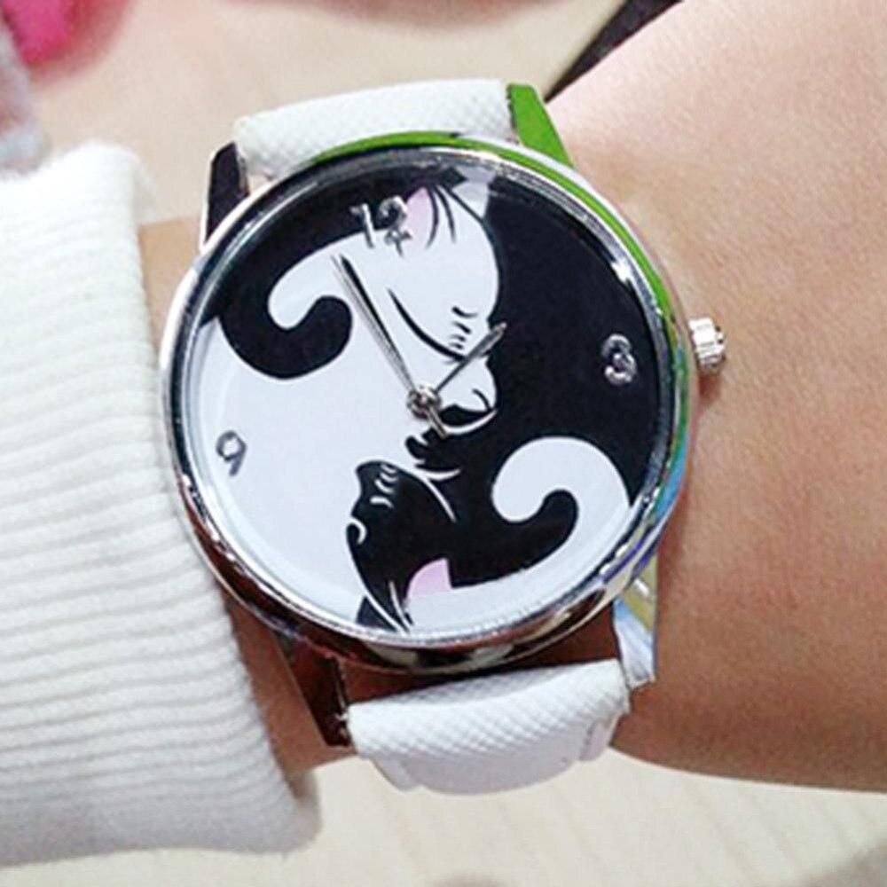 Watches Unique Lovely Charming Popular Fashion Monkey Pattern Leather Band Analog Quartz Wristwatches Relogio Feminino