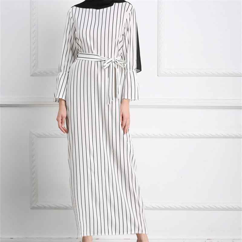 affd8dc501 ... 2019 Adult Hijab Abaya Fashion White Stripe Sashes Long Muslim Dress  Islamic Clothing Women Turkish Robe ...