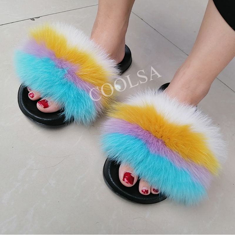 COOLSA Ladies Colorful Fox Fur Fluffy Slippers Women's Lovely Plush Real Fox Hair Slides Party Furry Flip Flops Women's Sandals