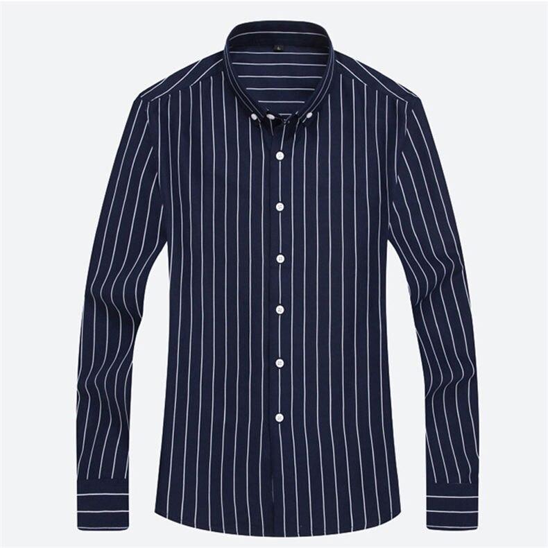 5XL Plus Large Size Striped Shirts Men Long Sleeve Casual Autumn Spring Classic Male Shirts Non-Iron Dress Shirts Man Muls Brand 15